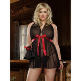 Dreamgirl Plus Size See Through Babydoll with Satin Ribbon Ties