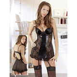 Cottelli Wet Look and Lace Babydoll Set