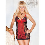 iCollection Polka Dot Lace Babydoll Set