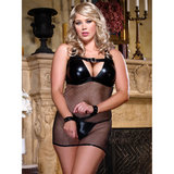 Dreamgirl Red Diamond Plus Size Fishnet Babydoll with Wrist Restraints