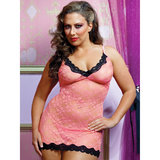 Seven Til Midnight Plus Size Sexy Lace Chemise and Thong Set