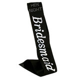 Diamante Bridesmaid Black Satin Sash