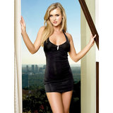 Leg Avenue Sexy Mini Dress with Faux Rhinestone Brooch