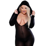 Fetish Fantasy Lingerie Plus Size Crotchless Bodystocking with Hood
