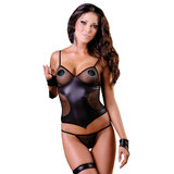 Soft Line Alessa Fishnet and Faux Leather Cami Set