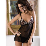 iCollection Sexy Chemise with Floral Embroidery