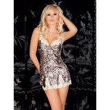 iCollection Satin and Lace Leopard Print Chemise