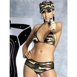 Obsessive Sexy Soldier Camouflage Bra Set with Hat