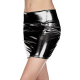 Music Legs Metallic Wet Look Mini Skirt