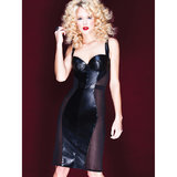 Coquette Darque Faux Leather and Mesh Corselette Dress