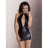 Passion Femi Raunchy Wet Look Halter Neck Mini Dress