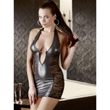 Cottelli Metallic Wet Look and Lace Mini Dress