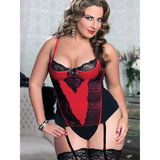 Seven Til Midnight Plus Size Simply Stunning Basque and G-String Set