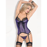 Escante Sheer Mesh and Lace Basque and Stockings Set