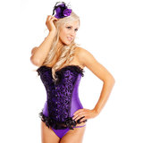 Sweet Streak Satin Corset with Velvet Flocking