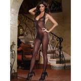 Dreamgirl Black Diamond See Through Bodystocking with Plunge Back