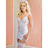 iCollection Open-Back Satin and Lace Chemise Set