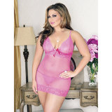 iCollection Plus Size See Through Polka Dot Lace Chemise