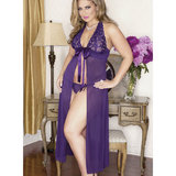 iCollection Plus Size Floor Length See Through Chemise Set