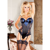 iCollection Satin and Lace Teddy with Garters