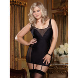 Dreamgirl Plus Size Opaque and See Through Mesh Slip Dress