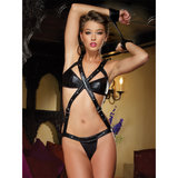 Dreamgirl Wet Look Body Harness Teddy and Handcuffs Set