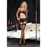 Leg Avenue Padded Satin Bra and Suspender Belt Set