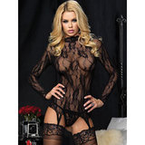 Leg Avenue Floral Lace Top with Suspenders