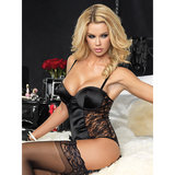 Leg Avenue Satin and Lace Teddy with Garter Straps