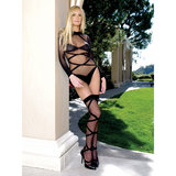 Leg Avenue Sheer Criss-Cross Teddy with Stockings