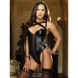 Dreamgirl Wet Look Teddy with Removable Garter Straps
