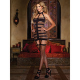 Dreamgirl St.Tropez Opaque and Net All-In-One Garter Dress