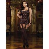 Dreamgirl Plus Size Dreamgirl Sheer Lace All-In-One Garter Dress and Stockings