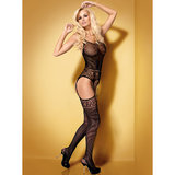 Obsessive Striped Open Crotch Bodystocking