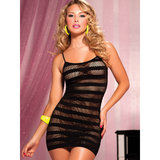 Seven Til Midnight Sheer Fishnet Stripe Dress