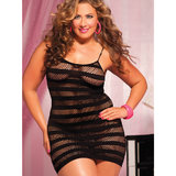 Seven Til Midnight Plus Size Sheer Fishnet Stripe Dress