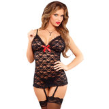 Exposed Luv Lace Chemise and G-String Set