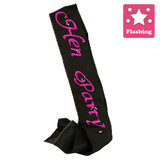 Flashing Hen Party Black Satin Sash
