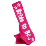 Disco Bride to Be Silver and Pink Satin Sash