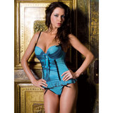 iCollection Padded Satin and Mesh Basque and Thong Set
