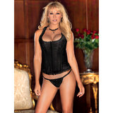 iCollection Racer Back Brocade Corset and G-String Set