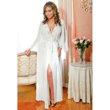 iCollection Plus Size Long Chiffon Robe with Lace Detail
