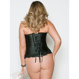 iCollection Plus Size Lace Overlay Satin Halter Neck Corset