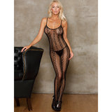 iCollection Striped Lace Crotchless Bodystocking