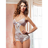iCollection Floral Lace Crotchless Teddy