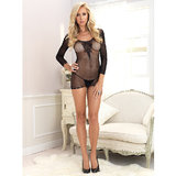 Leg Avenue Fishnet Mini Dress with Lace Bodice