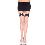 Music Legs Fishnet Thigh High Stockings with Satin Bows