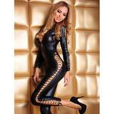 7heaven Sheila Wet Look Lace Up Catsuit