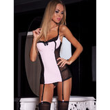 7heaven Grace Sheer Chemise with Garter Straps