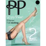 Pretty Polly Simply Sheer 10 Denier Black Matt Stockings 2 Pack